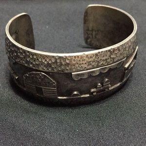 Native American storyteller bracelet cuff